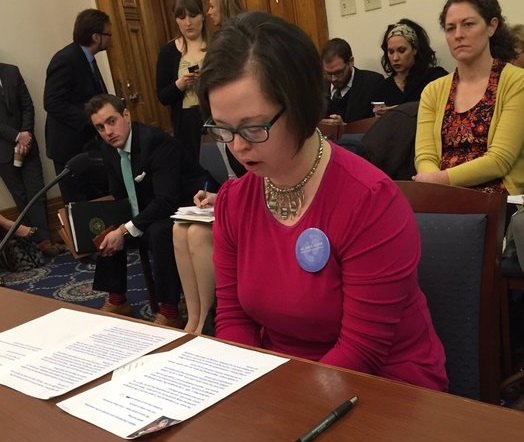(Katie Shaw testifying in Jan. 2016. Credit: Indiana Right to Life)