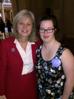 (IN Sen. Liz Brown, author of the bill prohibiting abortion based solely on discriminatory reasons such as disability, with Katie Shaw)
