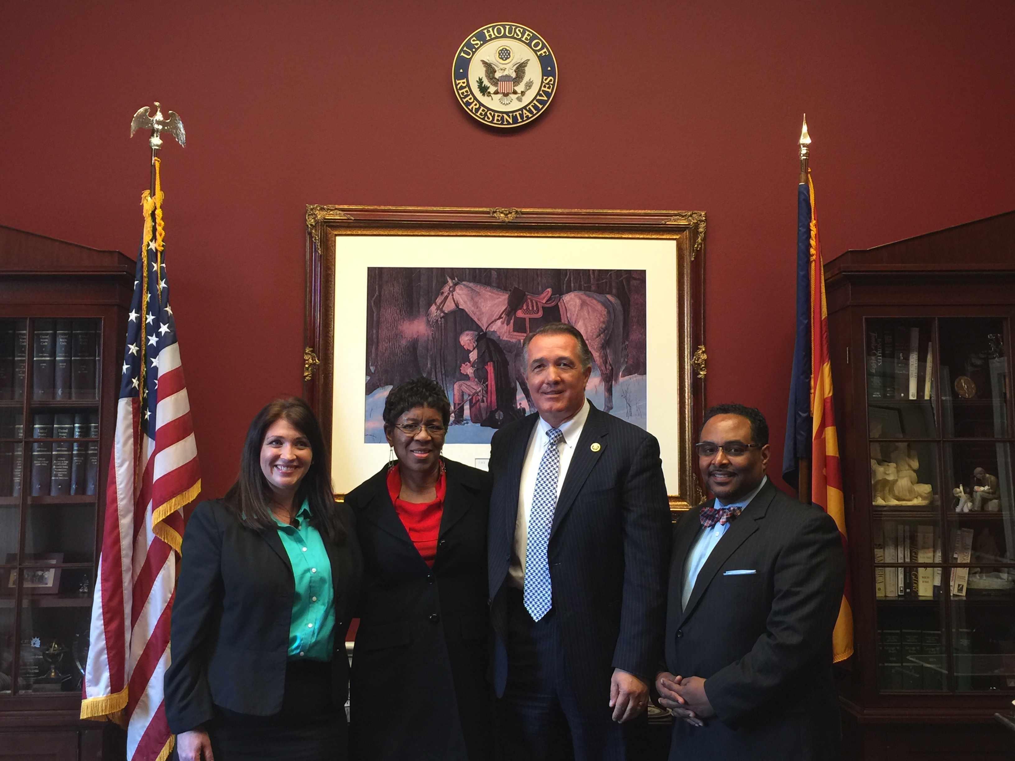 (Prolife witnesses after the hearing [L-R]: CLI Assoc. Scholar Anna Higgins, Catherine Davis [National Black Prolife Coalition; The Restoration Project], Rep. Trent Franks [R-AZ-8], and Rev. Derek McCoy [Center for Urban Renewal and Education])
